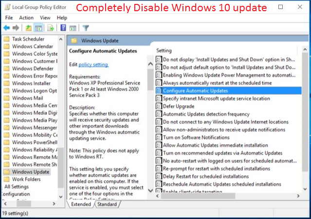 use group policy to disable automatic updates professional editions only